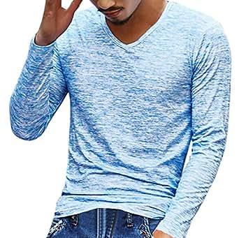 T-Shirt, feiXIANG Uomo solido scollo a V manica lunga T Shirt Top Slim camicetta (blu, XL)