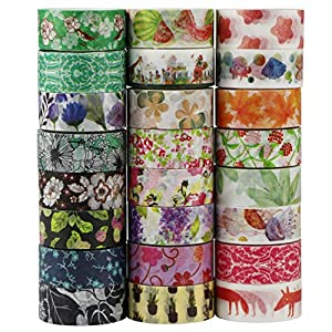 UOOOM 24 Rolls Beautiful Washi Tape Masking Tape deko Klebeband Buntes Klebebänder DIY Scrapbook deko (Design 9038)