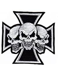 Skull Tattoo Biker Kreuz Chopper eisernes embroidered iron on patch