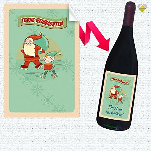 1 Flaschen-Etikett | Winter Illustration Frame - Motiv: Frohe Weihnachten Weihnachtsmann & Wichtel | Rechteckig | 8 x 12 cm | FE0202-19 | Blanko zum Selbstbeschriften | inkl. Verklebe-Anleitung | CuteLove & Head-Beat