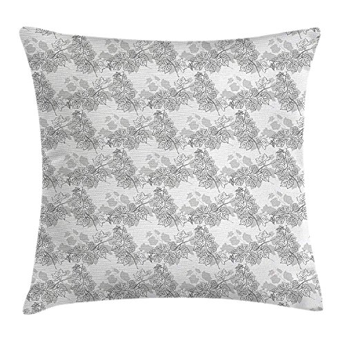 KLYDH Grey Decor Throw Pillow Cushion Cover, Spherical Disc Shaped Internal Pitch Bowls Spiral Mesh Hoop Concept Design, Decorative Square Accent Pillow Case, 18 X 18 Inches, White Gainsboro