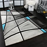 PHC Designer Teppich Karo Modern Handgearbeiteter Konturenschnitt Grau Türkis, Grösse:80x150 cm