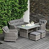 OUTLIV. Dining Lounge Kalibo Loungemöbel 6-tlg Polyrattan Essgruppe Garten Loungegruppe Loungemöbel