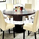 E-Retailer Waterproof Transparent Round Table Cover With White Lace (Suitable For 4 Seater, 60 Inch Diameter)