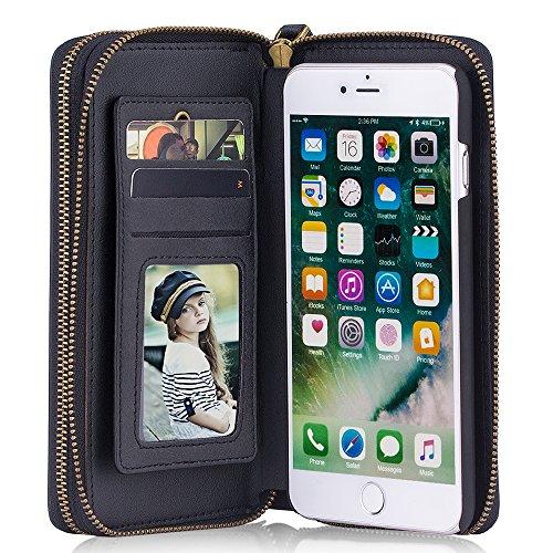 Leder Schutzhülle Handytasche Handyhülle Handyschale als Geldbeutel Geldbörse mit Kartenhüllen Magnet Hülle, für iPhone 7 plus, Schwarz