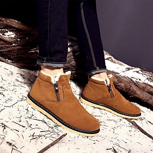 Dooxi Hommes Hiver Chaud Doublure en Fausse Fourrure Plates Chaussures Bottines Mode Zipper Bottes De Neige Bronzer