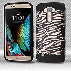 MyBat Cell Phone Case for LG K10 - Black Zebra Skin (2D Rose Gold)/Black