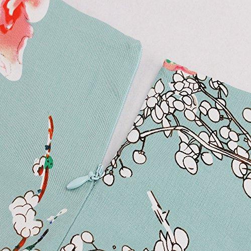 IMUYI Frauen 1950s Kurzarm Blumen Vintage Rockabilly Swing Cocktailkleid -