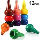 Kleinkinder Wachsmalstifte, PAMIYO 12 Farben Handflächengriff Wachsmalstifte, Stapelbares Spielzeug Farbstifte für Kleinkinder, Waschbare, für Kinder, Kleinkinder und Kinder, Sicher, Babys