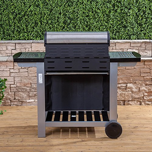 Everest 3 Burner Gas Barbecue - Stainless Steel, Cast Iron Burners, Grill & Griddle with Free Propane Regulator & Hose