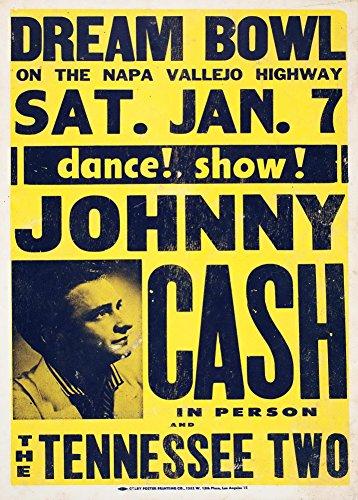 Vintage Johnny Cash & Tennessee due Live at il sogno ciotola 250gsm Lucido Art poster A3di riproduzione