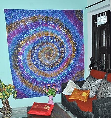 Blue Tie Dye Elefanten Indische Mandala Wand Kunst Tapisserie Hippie Wand hängende böhmische Königin Größe Tagesdecke Bettwäsche für Schlafzimmer Medaillon Yoga Picknick Strand Decke Boho College Dorm Zimmer Dekor
