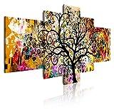 Dekoarte 429 - Quadro moderno su tela montato su telaio in legno di 5 pezzi, stile astratto albero della vita Gustav Klimt, 180x85cm
