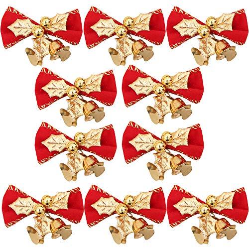 TAOtTAO Bowknot 10PC Weihnachtsbaum Dekoration Weihnachten Bowknot Bell Party Garden Hochzeit Ornament (A)