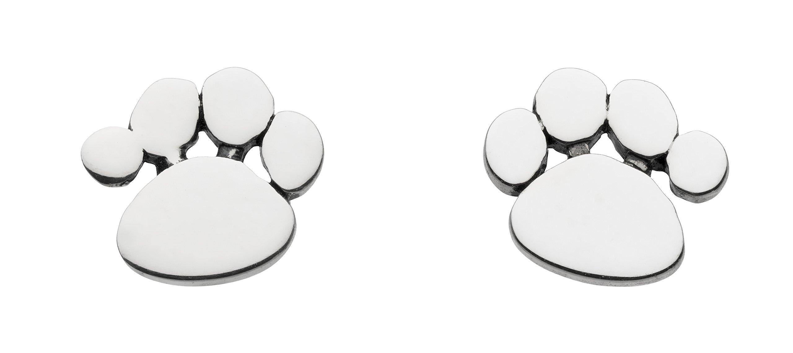 Dew Girl's Sterling Silver Fun Paw Print Stud Earrings AMA4857