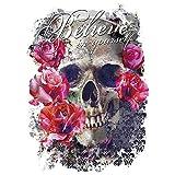 Color Bügeltransfers, 23,5 x 34 cm, filigran ohne Hintergund | Textilien wie T-Shirts & Taschen mit Bügelmotiven verzieren | Bilder schnell & einfach aufbügeln | DIY Textildesign (Skull 'n' Roses)