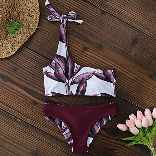 CLZCFrauen Neue Eine Schulter Blätter Drucken Bikini Niedrig Taillierte Badebekleidung Badeanzug Sommer Strand Bikini,Rotwein,S