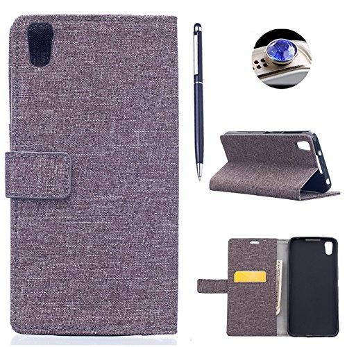 BlackBerry DTEK50 hülle Tasche,AyiHuan Folio PU Leder Handyhülle Wallet Case Flip Cover mit Magnetverschluss, Kartenfach und Standfunktion Schutzhülle für BlackBerry DTEK50 5,2 Zoll,grau