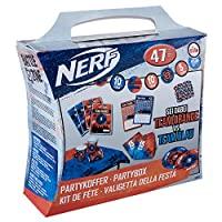 tib 19810 Nerf Party Suitcase Set of 47 Pieces, Multicolour, One Size