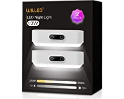 WILLED Upgraded 3W Touch Lights, 5 Colors Adjustable, Dimmable Lights, Built-in 2000mAh Battery Rechargeable, Stick on Lights