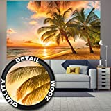 Fototapete Barbados Wandbild Dekoration Urlaub Sonnenuntergang Meer Karibik Strand Palm Beach Sommer Insel Sunset Traumurlaub | Foto-Tapete Wandtapete Fotoposter Wanddeko by GREAT ART (210 x 140 cm)