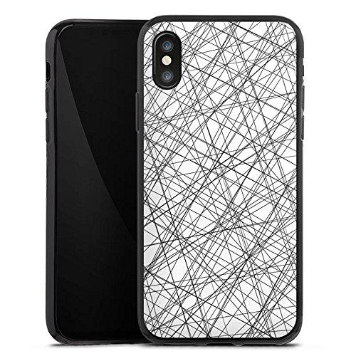 Apple iPhone X Silikon Hülle Case Schutzhülle Streifen Fäden Muster Silikon Case schwarz