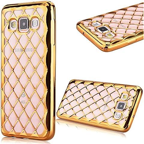 Morbido TPU Cover per Samsung Galaxy A3(2015), GrandEver 3D Silicone Placcatura Custodia Semi-Transparente Soft Back (Fatto A Mano Fiore Di Carta Semi)