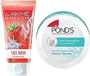 Lakmé Blush and Glow Strawberry Gel Face Wash, 100g & Pond's Light Moisturiser, 250ml