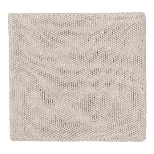 """URBANARA Baumwolldecke """"Antua"""" - 100% reine Baumwolle, Creme, gestrickt – 220 x 260 cm, Strick-Decke, Überwurf, Plaid, Sofadecke, Kuscheldecke"""