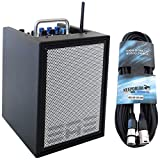 Elite Acoustics A1-4 CFB Gitarren-Verstärker 3-Kanal Mini PA Box Akku-betrieben mit Effekten + KEEPDRUM 6m XLR Kabel