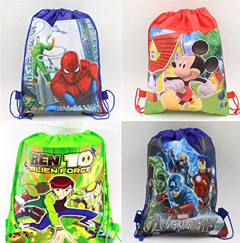 Gifts Online Cartoon Printed Kids Pack of 12 Haversack - Birthday Party Return Gift (Boys)