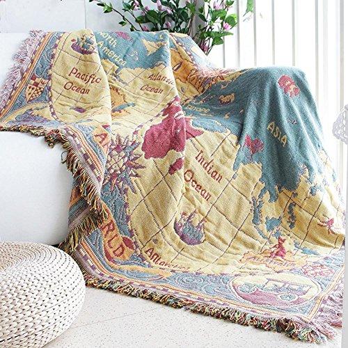 cosy-l Kuscheldecke Decke 100% Baumwolle Felldecke für Stuhl/Bett oder Sofa Schreibtisches Stuhl Stilvolle Decke Teppich, Weltkarte, 230 * 250cm (Schreibtisch Flauschige Stuhl)