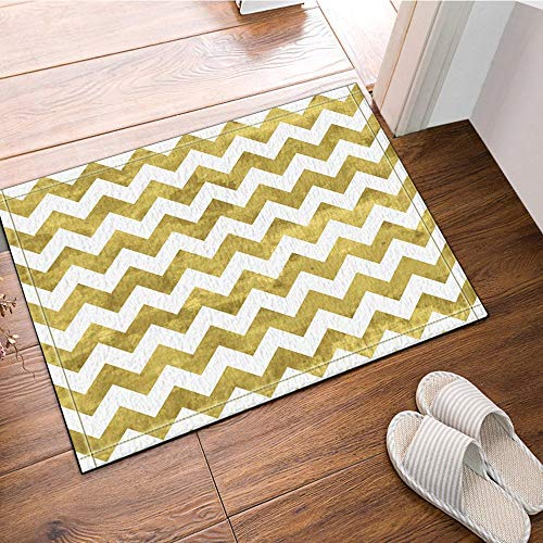 fdswdfg221 Gold und Weiß Chevron Muster Bad Teppich Rutschfeste Fußmatte Boden Eingang Indoor Haustürmatte Kinder Bad-Accessoires -