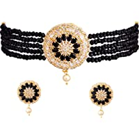 Zeneme Necklace American Diamond Gold Plated Brass Pearl Choker Necklace with Earring Fashion Jewellery Set For Women…