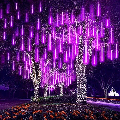 Eeieer luci della pioggia di meteore , 30cm 8tubo 192 led meteor luci natale luci, impermeabili meteor shower light per festa di nozze decorazione all'aperto (porpora)