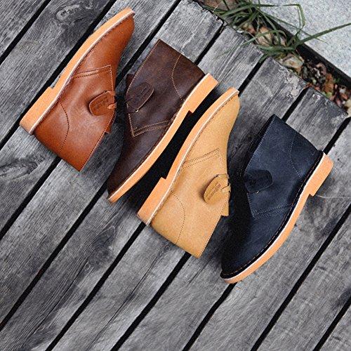 SERENE Mode Herren Wüste Arbeitsschuhe Low Top Arbeitsstiefel für Männer - Glattes Leder oder Wildleder Rot Braun