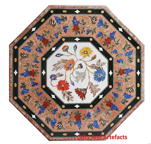 Inlay-top-couchtisch (Gifts And Artefacts 61cm Octagon weiß Marmor Couchtisch Top Inlay Multi Color Stones Floral Design)