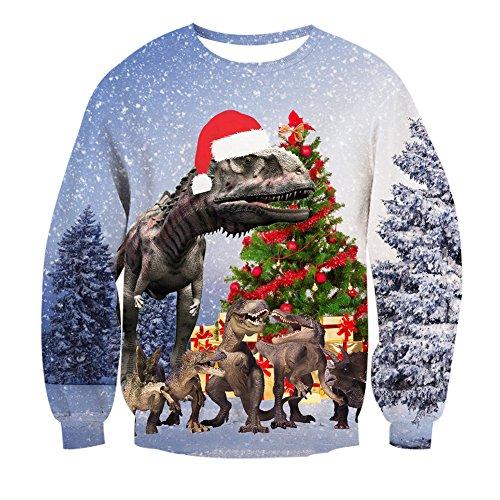 Leapparel Xmas Dinosaurier Pullover Männer und Herren Witzig 3D Muster Weihnachten Langarm Kostüm Grau XXL