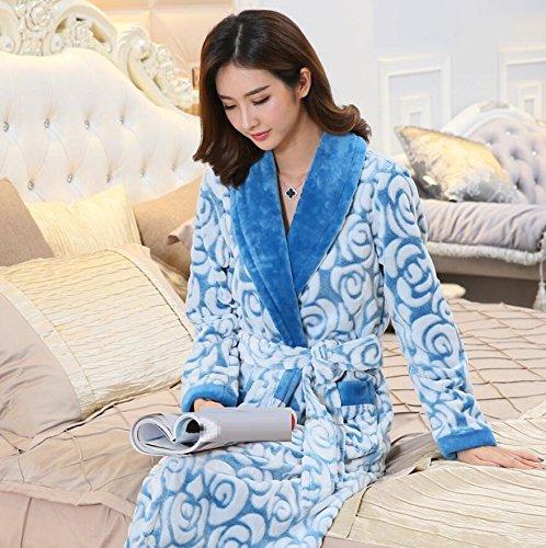 ZC&J Flanell Breathable Pyjamas Thick Coral Samt Bequeme Schlafsack Couples Fashion Bademäntel Loose Pyjamas,Men blue,M Ms blue