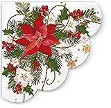 12 Servietten rund Weihnachtsstern im Gesteck / Weihnachten Ø32cm