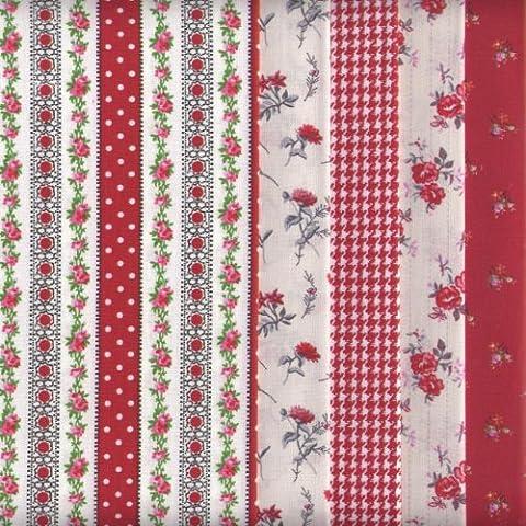 Bundle de telas - 5 telas (nuevos rojos) - colección de telas de coordinación (pequeños diseños) | 100% algodón | 46 x 56 cm