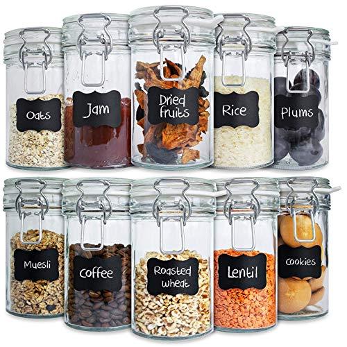 10 x creative home barattolo vetro con chiusura ermetico | 10 x 500ml | set vasetti vaso contenitore con coperchio per conservare e organizzare | 12 etichette lavagna adesive riutilizzabili + gessetto