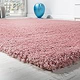 Paco Home Shaggy Teppich Micro Polyester Wohnzimmer Teppiche Elegant Hochflor Pink, Grösse:Ø 120 cm Rund