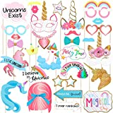 TENDYCOCO Unicorn Photo Booth Props Rainbow Unicorn Photo Props for Baby Shower Birthday Party Favors Supplies No DIY Required,Pack of 30