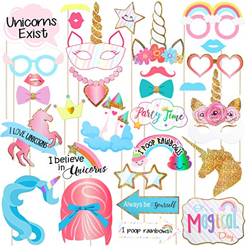 nhorn Photo Booth Props Einhorn Party Lustige Regenbogen Pegasus für Baby Shower Geburtstag Party Dekoration Liefert 30 Pcs ()