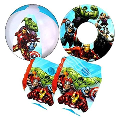 Marvel Avengers Kids Inflatable Armbands Swim Ring and Beach Ball Swimming Pool Beach Floats Set