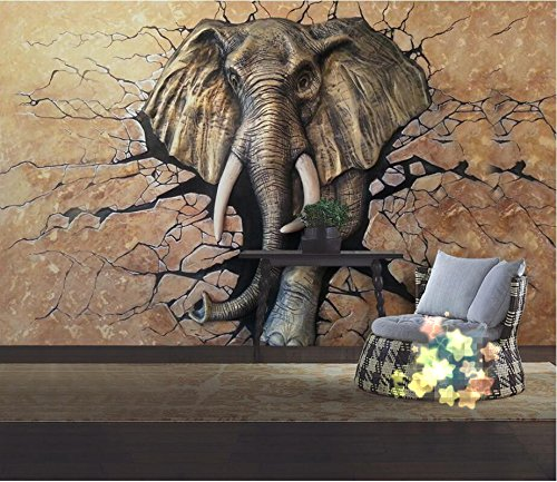 WH-PORP Custom tapete 3D Stereo Relief Elephant Tv Wall Living Room Bedroom Background Walls Mural-128cmX100cm