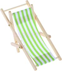 ELECTROPRIME 1/12th Green Striped Lounge Chair Recliner Fairy Home Garden Decor Accessory
