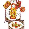 """5-tlg. Küchenset """"Matroschka"""" aus Schürze , Geschirrtuch, Topflappen, Topfhandschuh und Serviette als Geschenk"""