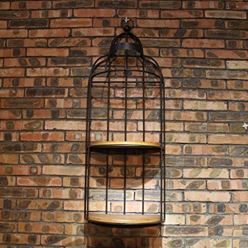 KXBYMX Wand-Eisen-Blumenregale des Regals Retro- einfacher Wanddekoration Massivholz Birdcage Lagerregal (Farbe : SCHWARZ)
